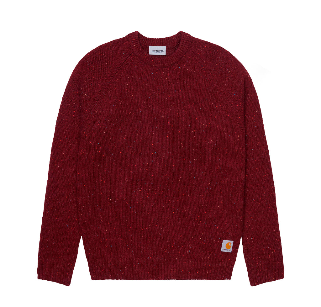 Carhartt WIP Anglistic Sweater: Bordeaux Heather - The Union Project