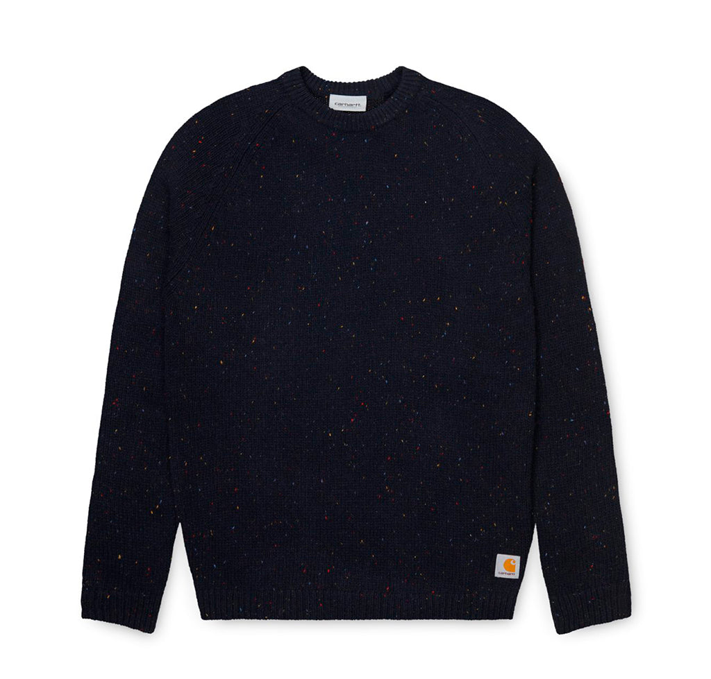 Carhartt WIP Anglistic Sweater: Dark Navy Heather - The Union Project