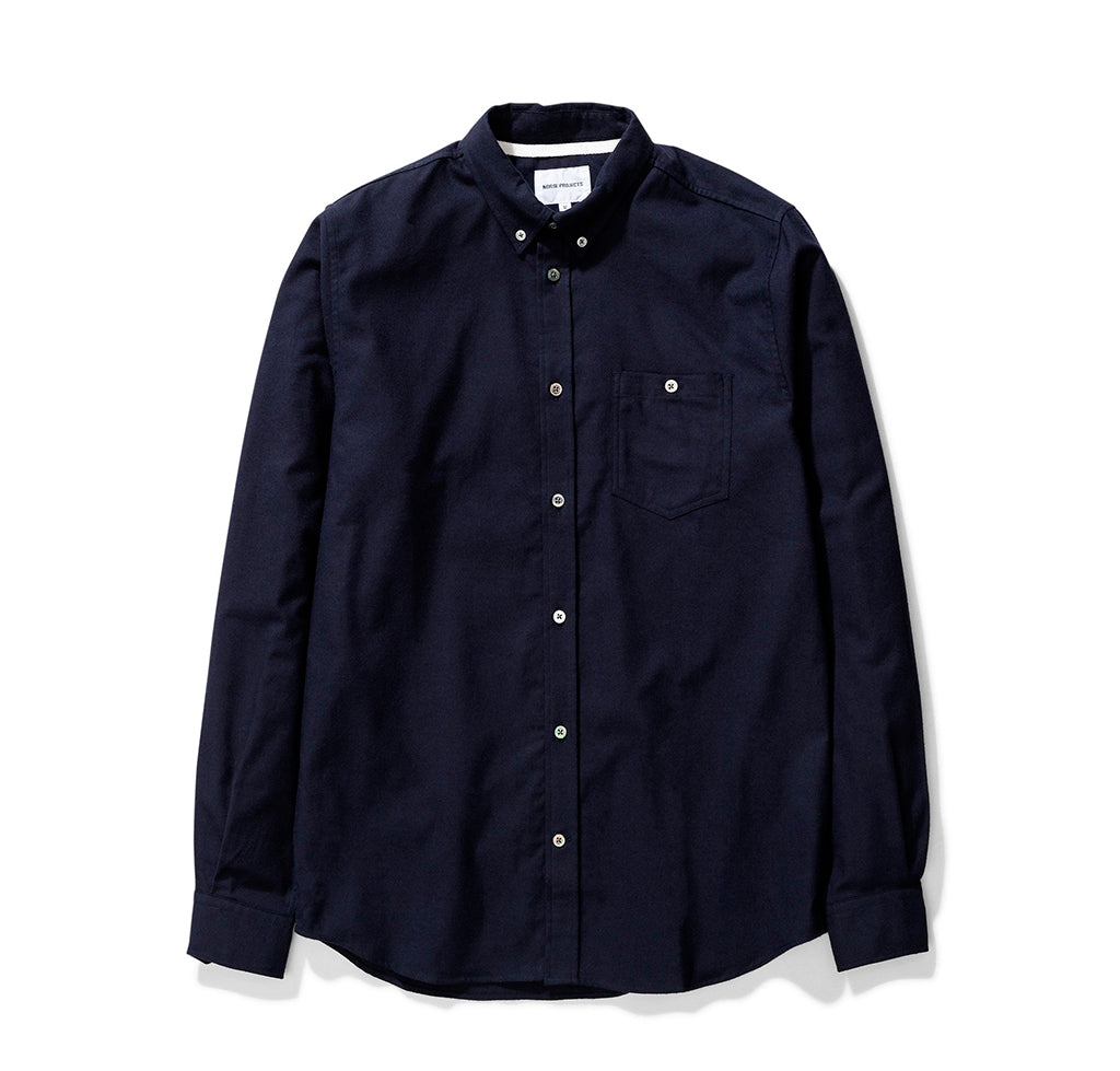 Shirts Norse Projects Anton Brushed Flannel: Dark Navy - The Union Project, Cheltenham, free delivery