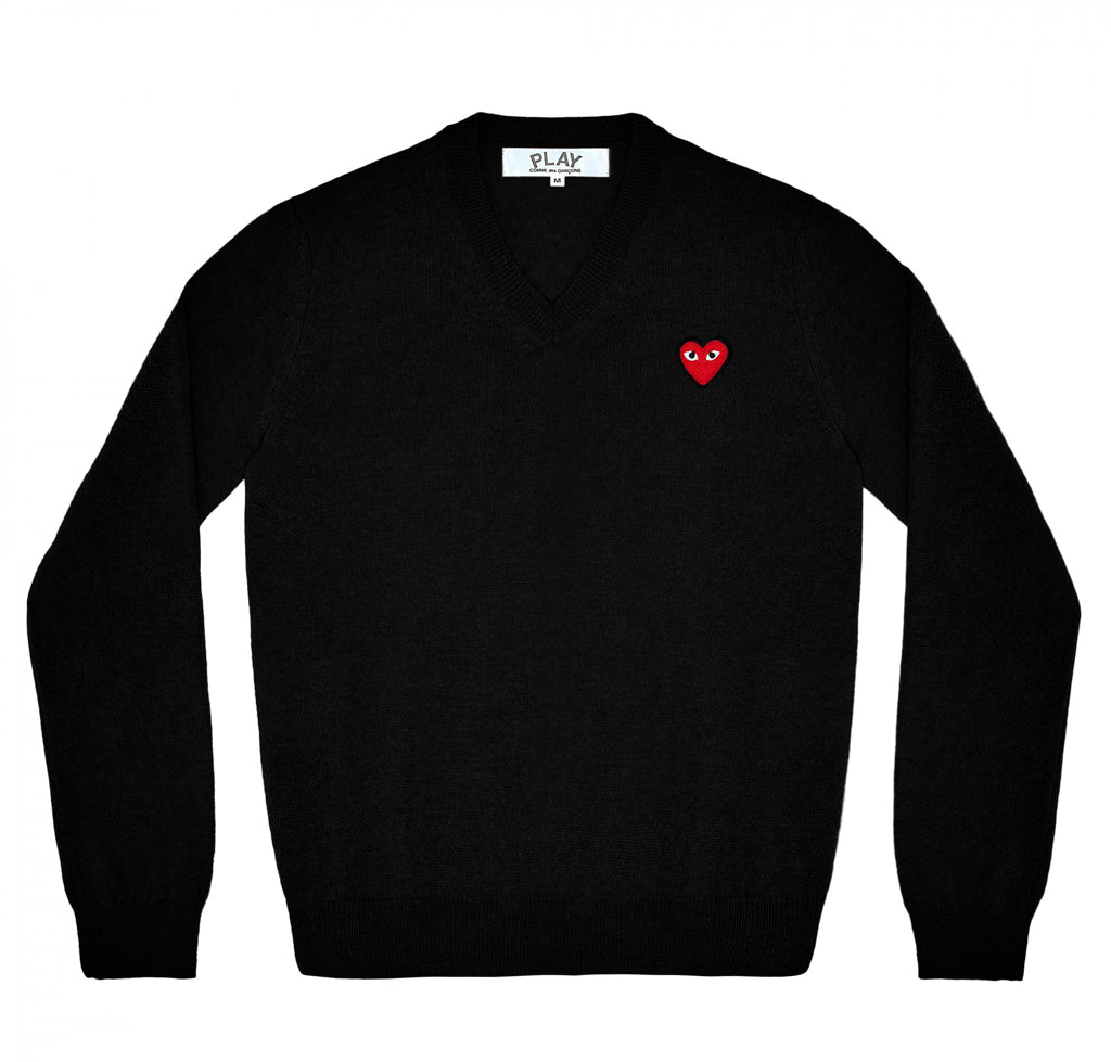 Comme des Garçons Play V-Neck Pullover Red Heart: Black - The Union Project