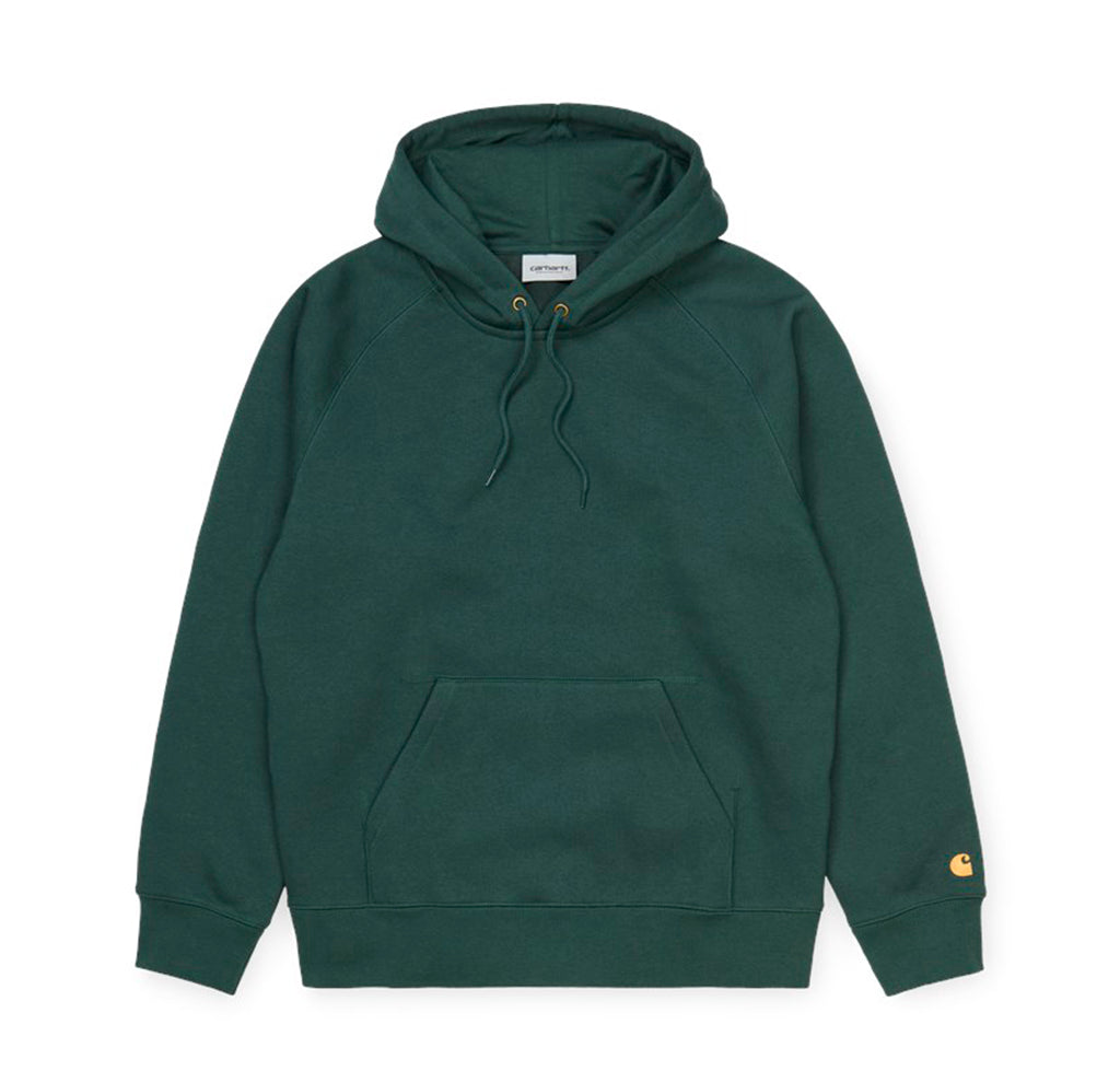 Carhartt WIP Hooded Chase Sweat: Dark Teal / Gold - The Union Project