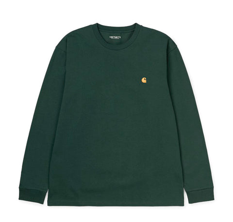 T-Shirts Carhartt WIP Chase Longsleeve T-Shirt: Dark Teal / Gold - The Union Project, Cheltenham, free delivery
