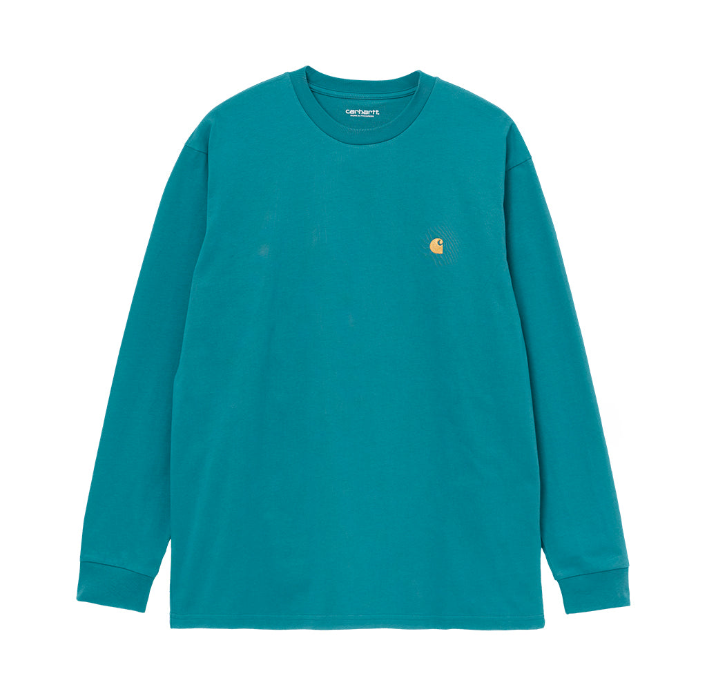 Carhartt WIP L/S Chase T-Shirt: Hydro / Gold - The Union Project