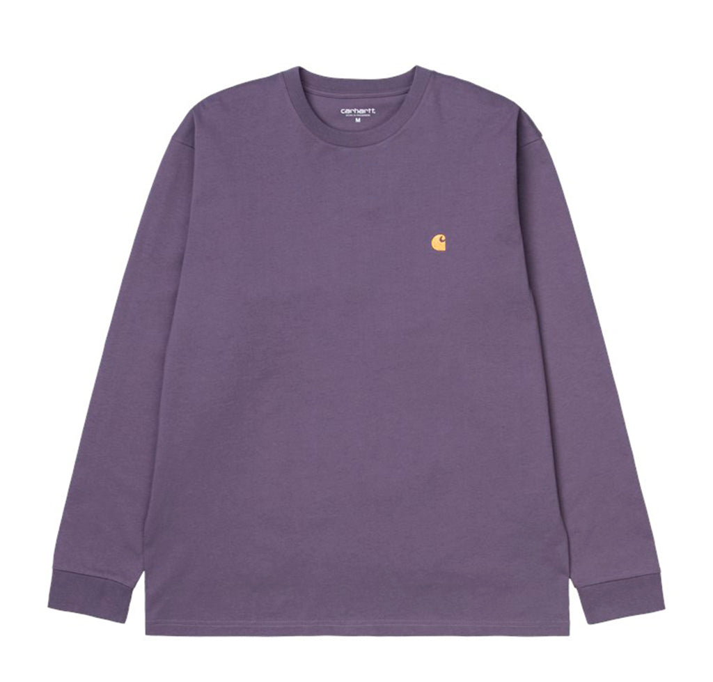 Carhartt WIP L/S Chase T-Shirt: Provence / Gold - The Union Project