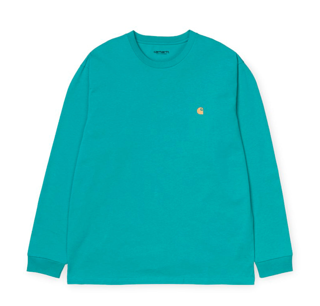Carhartt WIP Chase Longsleeve T-Shirt: Frosted Turquoise / Gold - The Union Project