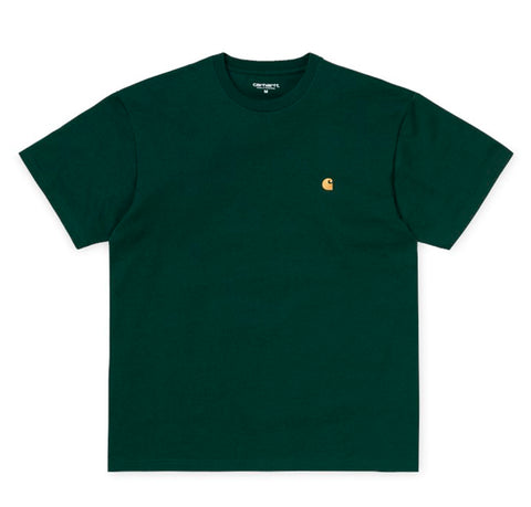 T-Shirts Carhartt WIP Chase T-Shirt: Bottle Green / Gold - The Union Project, Cheltenham, free delivery