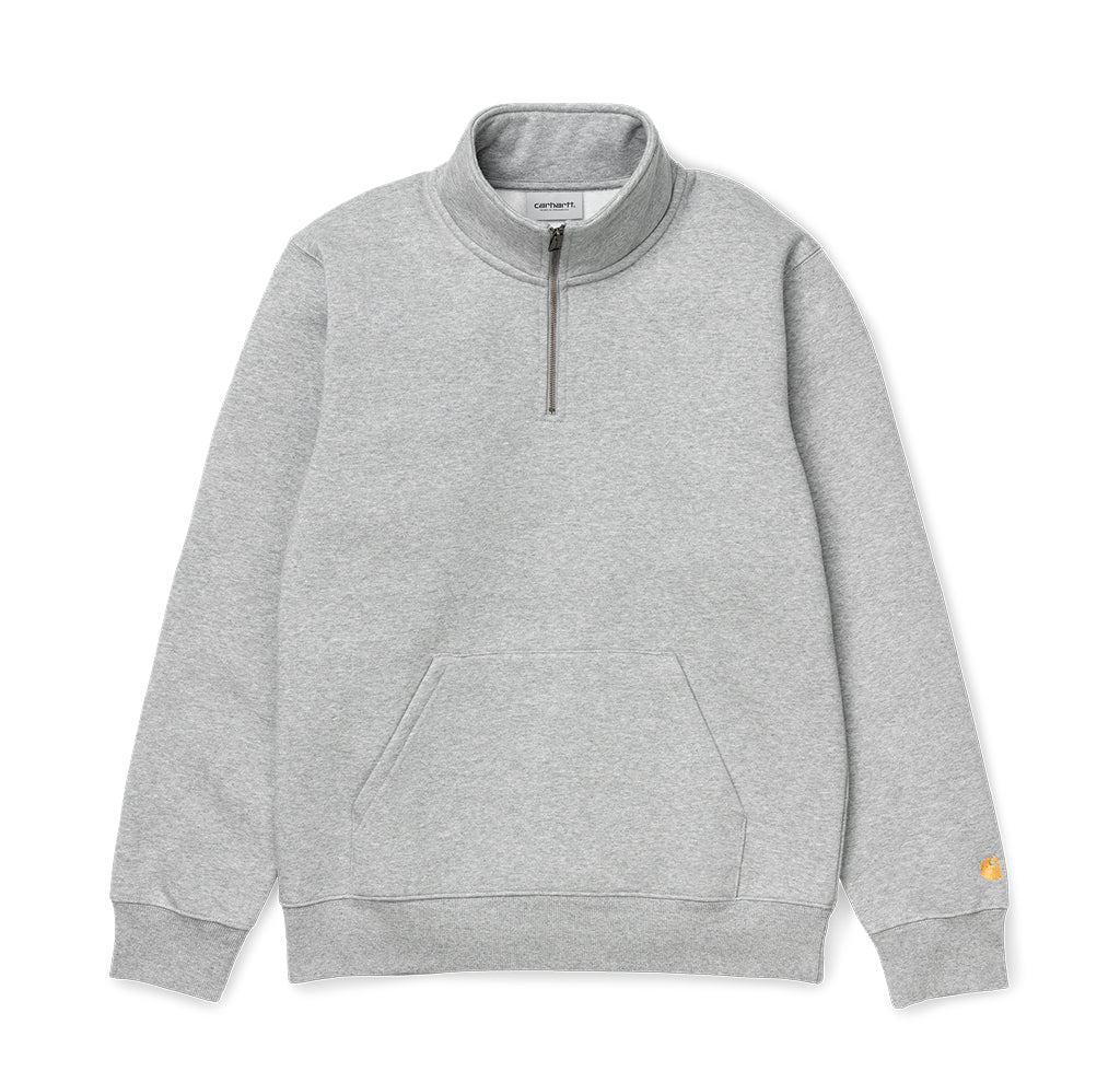 Carhartt WIP Chase Neck Zip Sweat: Grey Heather / Gold - The Union Project