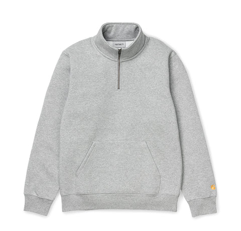 Carhartt WIP Chase Neck Zip Sweat: Grey Heather / Gold
