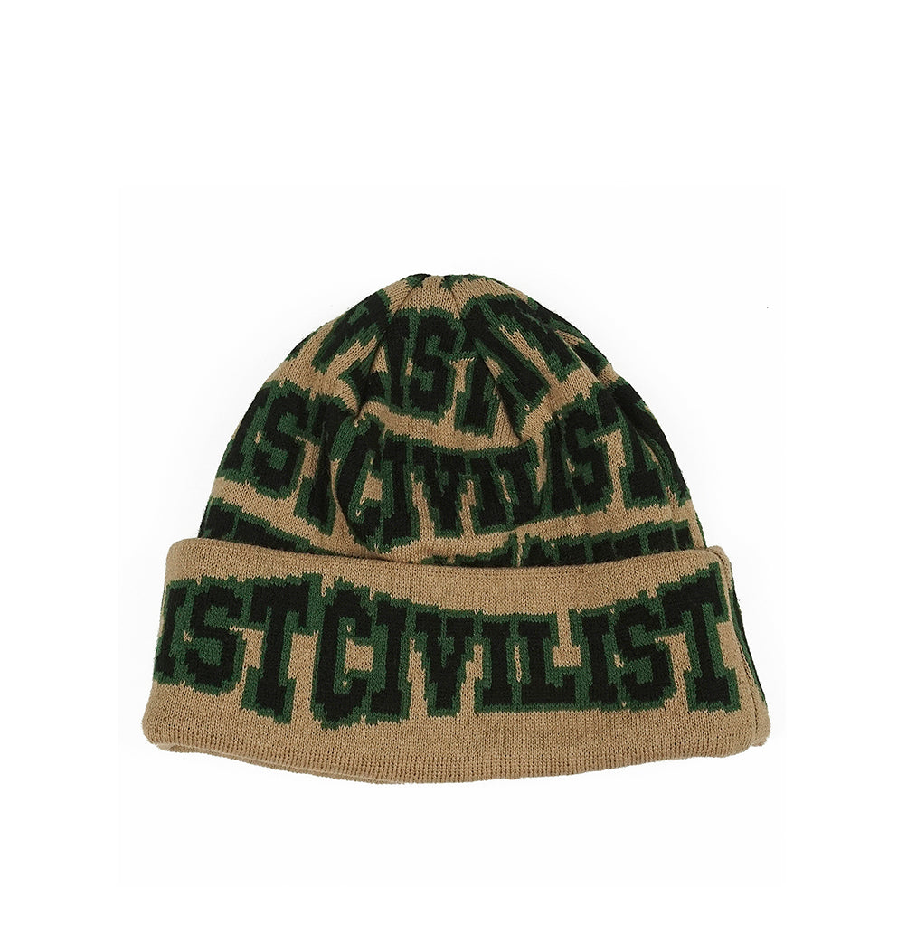Civilist Allover Club Beanie: Beige / Black - The Union Project