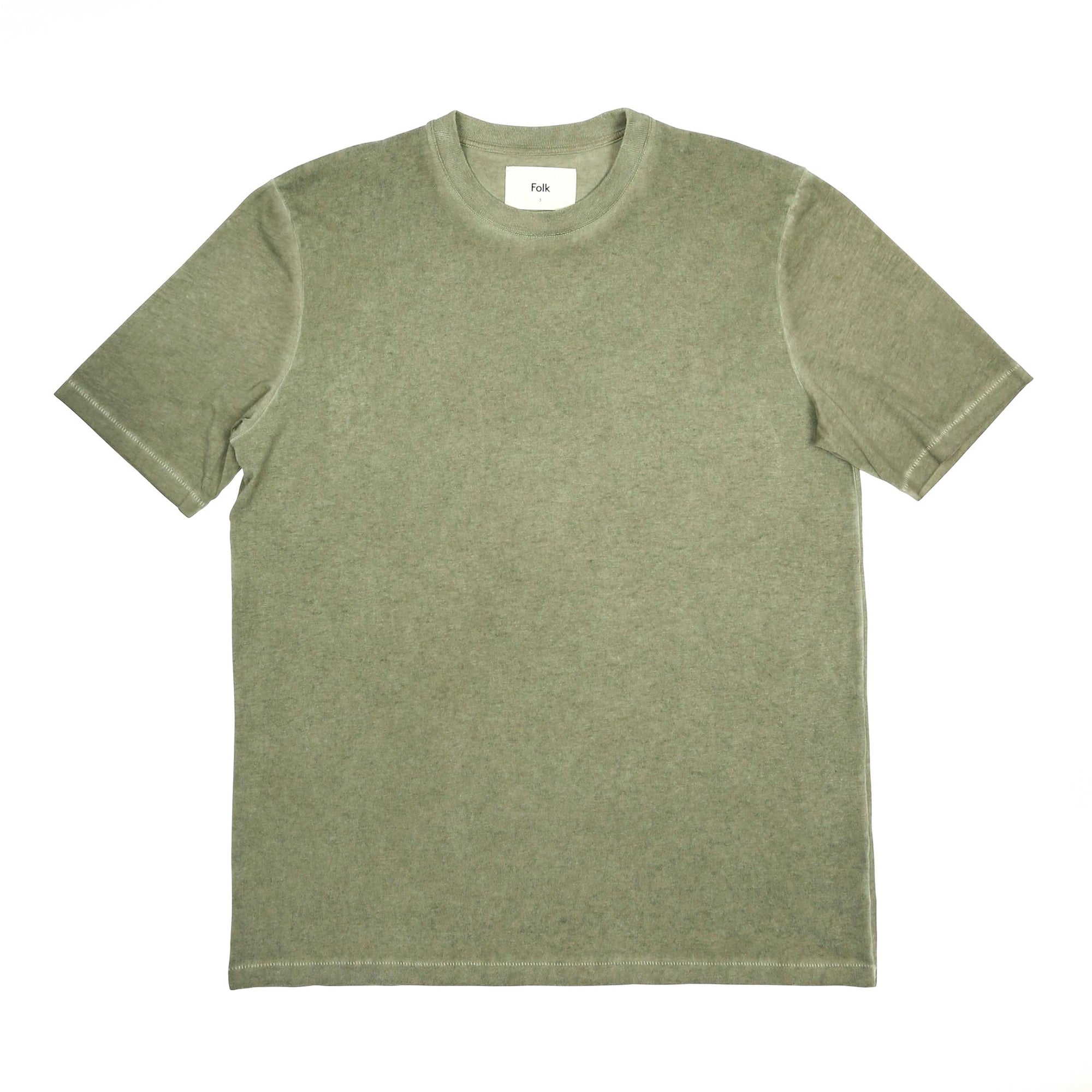Folk Contrast Sleeve Tee: Cold Dye Olive - The Union Project