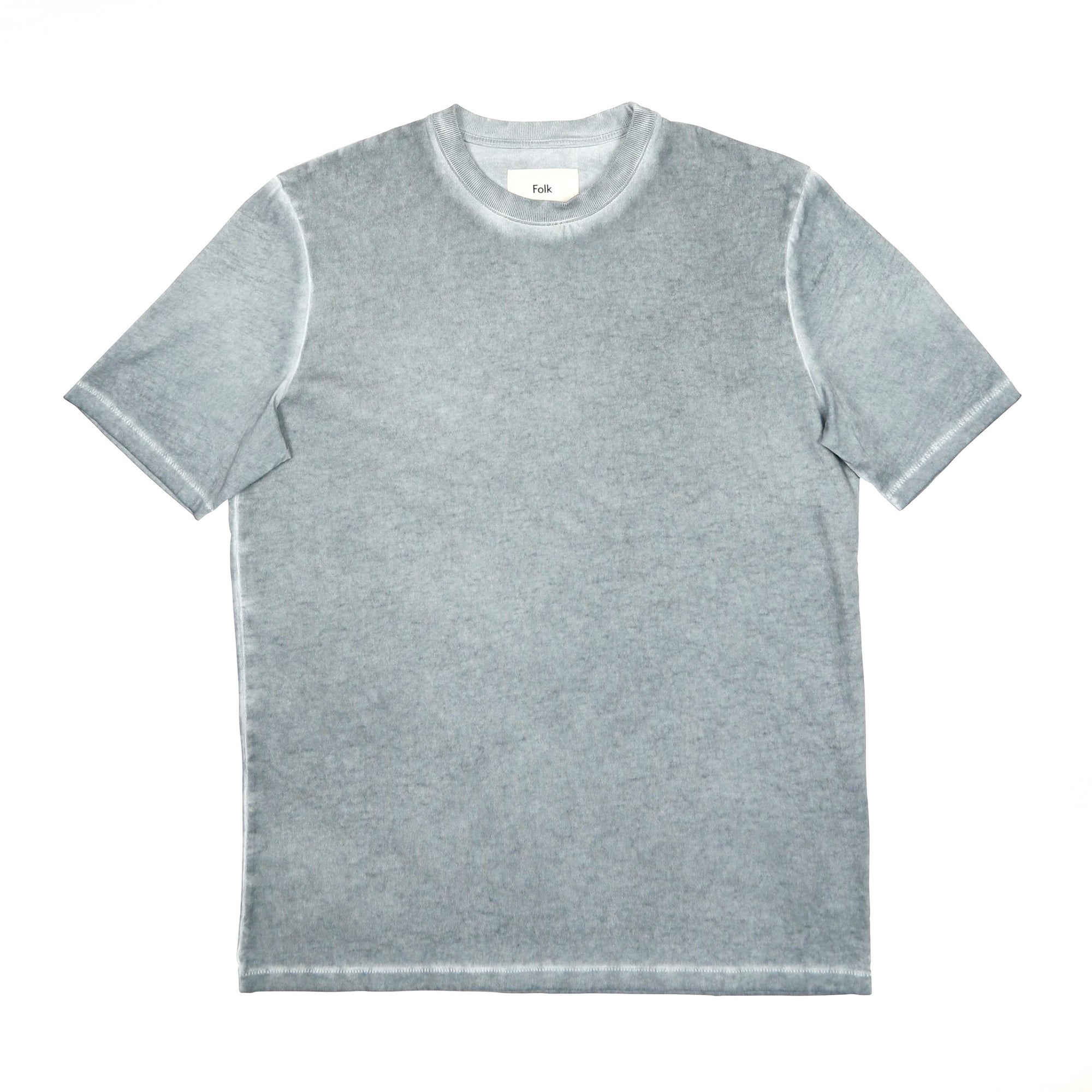 Folk Contrast Sleve Tee: Cold Dye Woad - The Union Project
