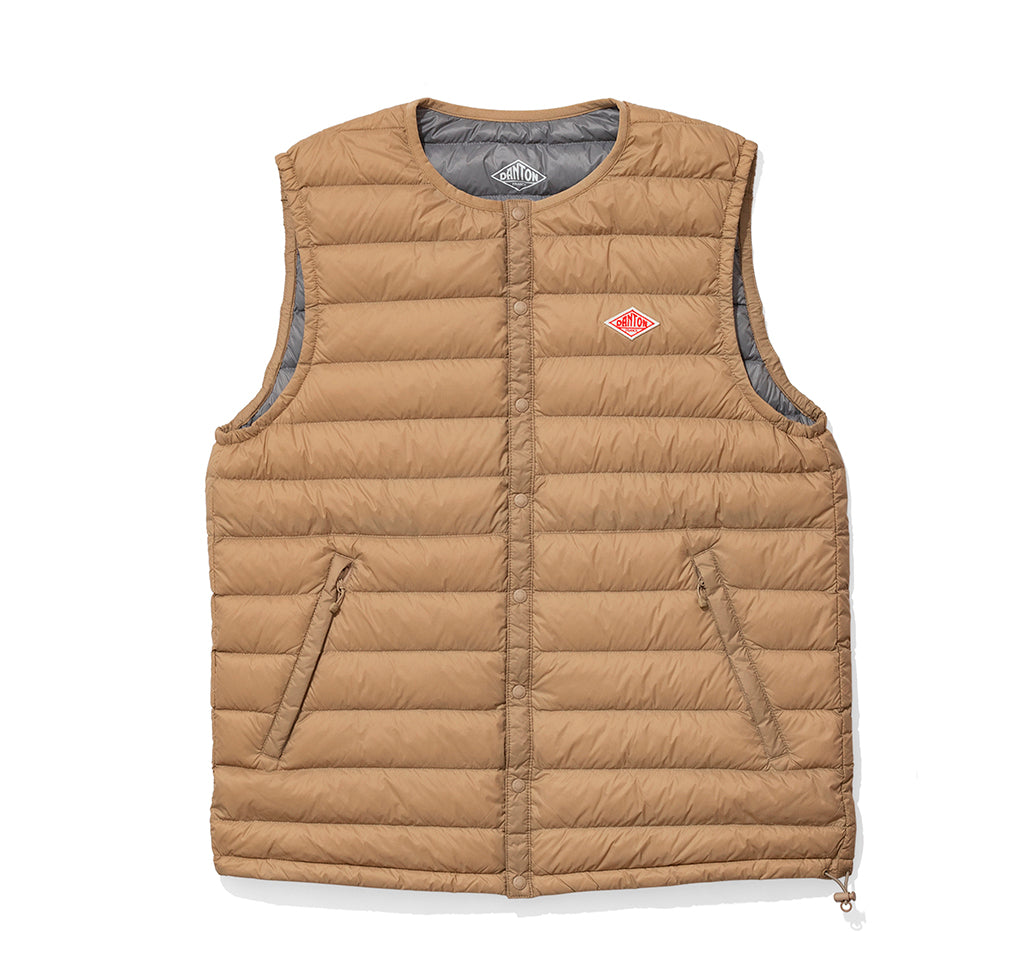 Danton Round Collar Insulated Vest: New Beige - The Union Project