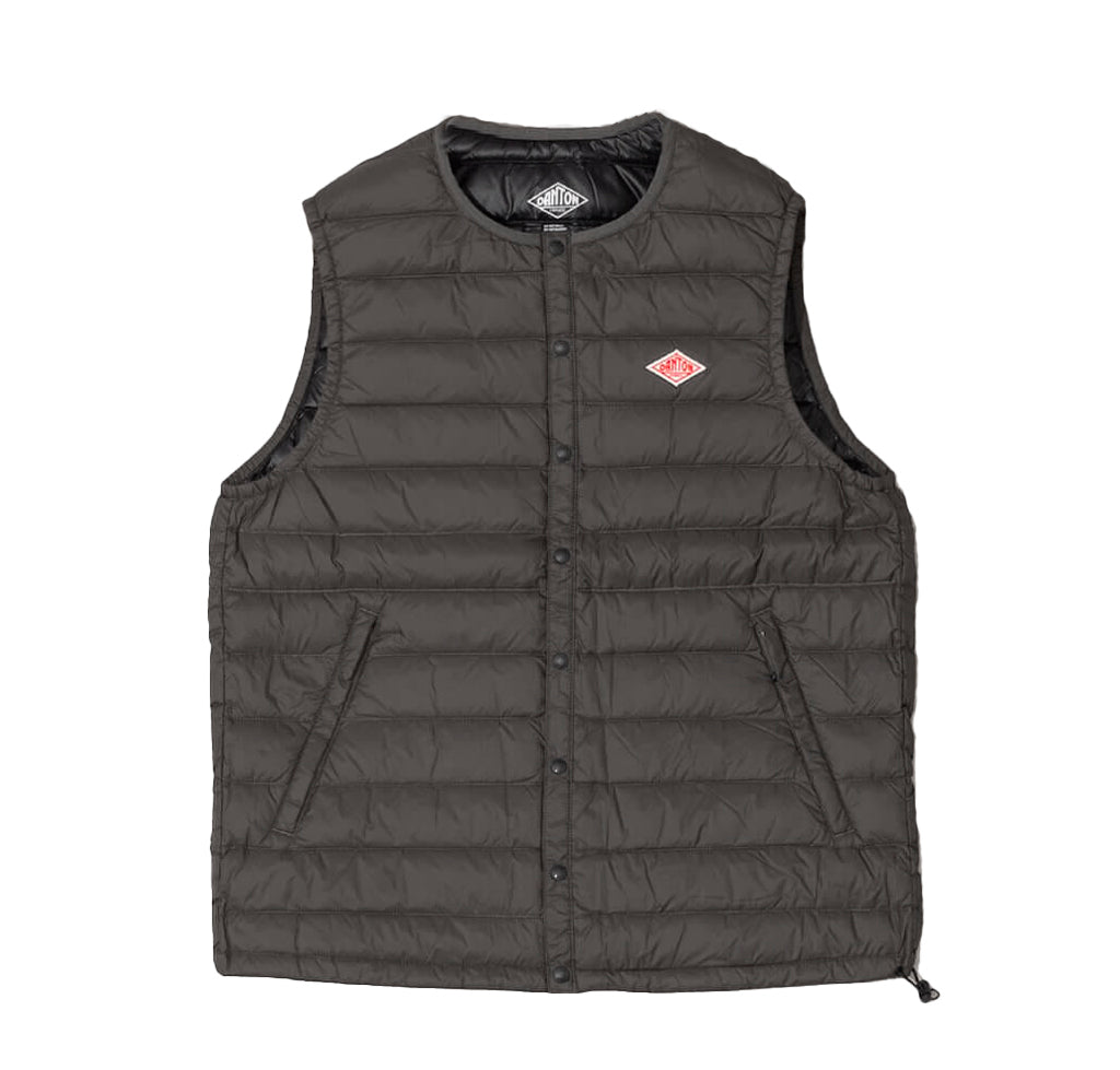 Danton Round Collar Insulated Vest: Iron - The Union Project
