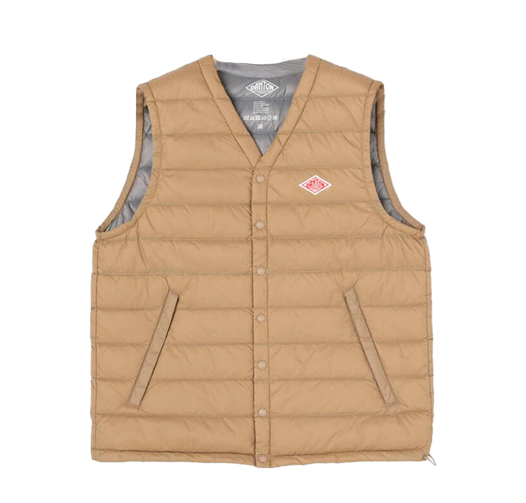 Danton V Collar Insulated Vest: New Beige - The Union Project