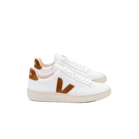 Veja Womens V-12 Leather: White / Camel - The Union Project
