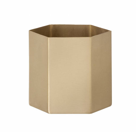 Plant Pots + Vases Ferm Living Hexagon Pot Large: Brass - The Union Project, Cheltenham, free delivery