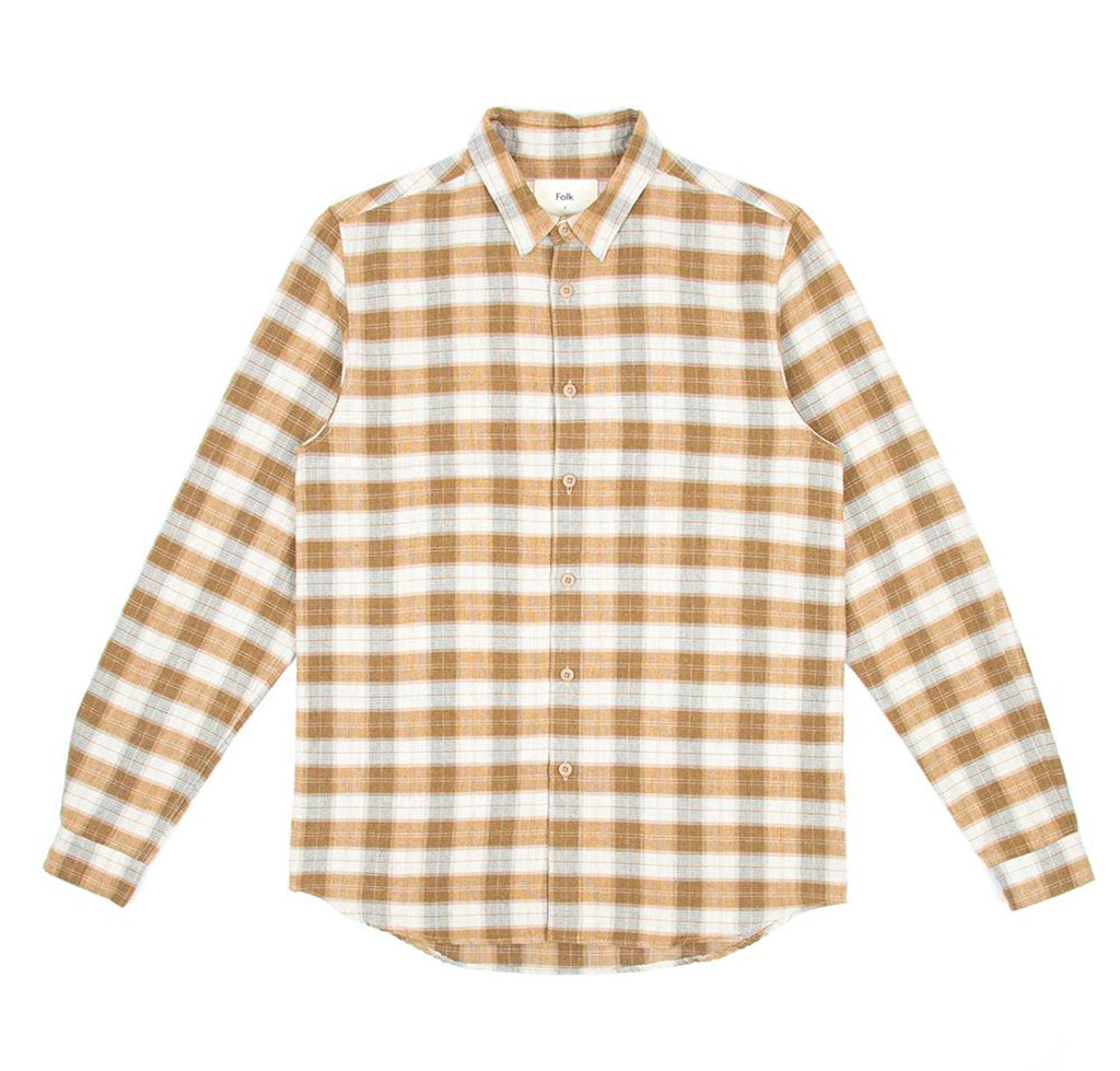 Shirts Folk Storm Shirt: Tan Linear Check - The Union Project, Cheltenham, free delivery