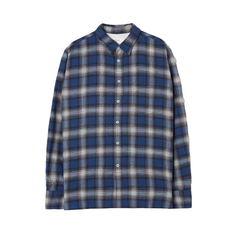 Universal Works Polar Ghost Check New Standard Shirt: Blue