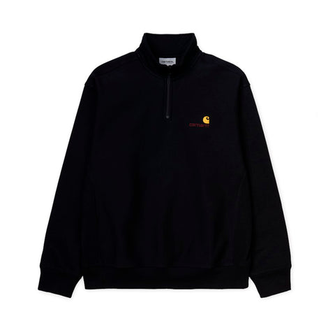 Hoods & Sweats Carhartt WIP Half Zip American Script Sweat: Black - The Union Project, Cheltenham, free delivery