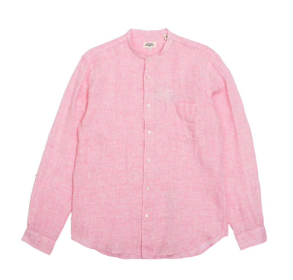 Shirts Hartford Linen Collarless Shirt: Pink - The Union Project, Cheltenham, free delivery