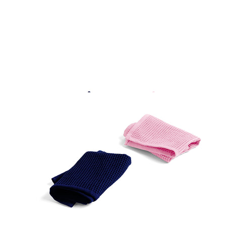HAY Waffle Dish Cloth (Set of 2): Cool Rose & Midnight Blue