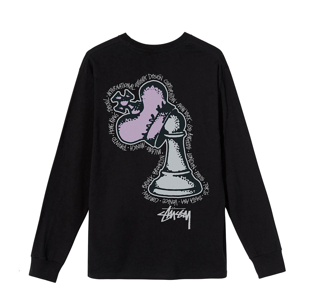 LS T-Shirts Stussy Hidden Pawn L/S Tee: Black - The Union Project, Cheltenham, free delivery