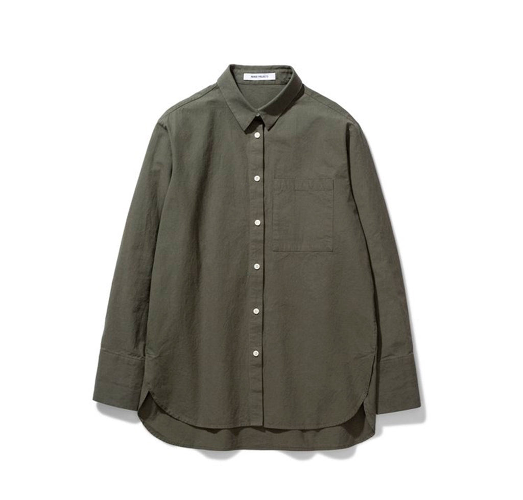 Norse Projects Womens Elsa Japanese Weave Shirt: Ivy Green - The Union Project
