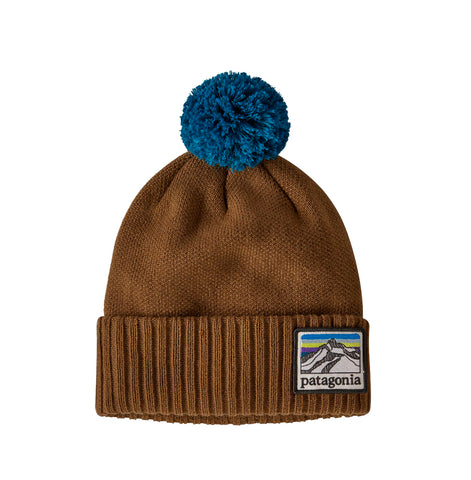 Patagonia Powder Town Beanie: Line Logo Ridge: Mulch Brown