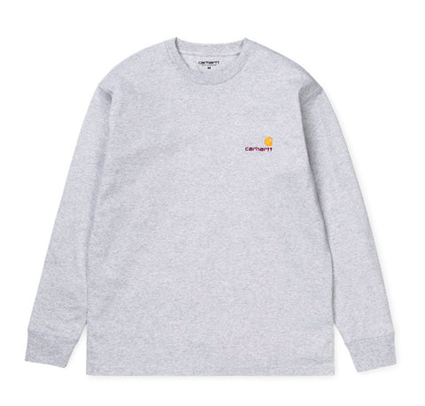 T-Shirts Carhartt WIP L/S American Script T-Shirt: Ash Heather - The Union Project, Cheltenham, free delivery