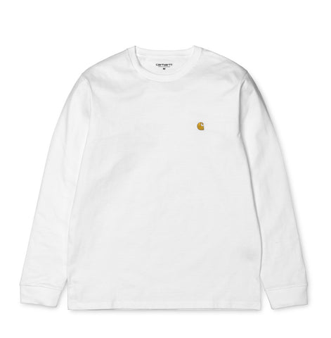 T-Shirts Carhartt WIP Chase Longsleeve T-Shirt: White - The Union Project, Cheltenham, free delivery