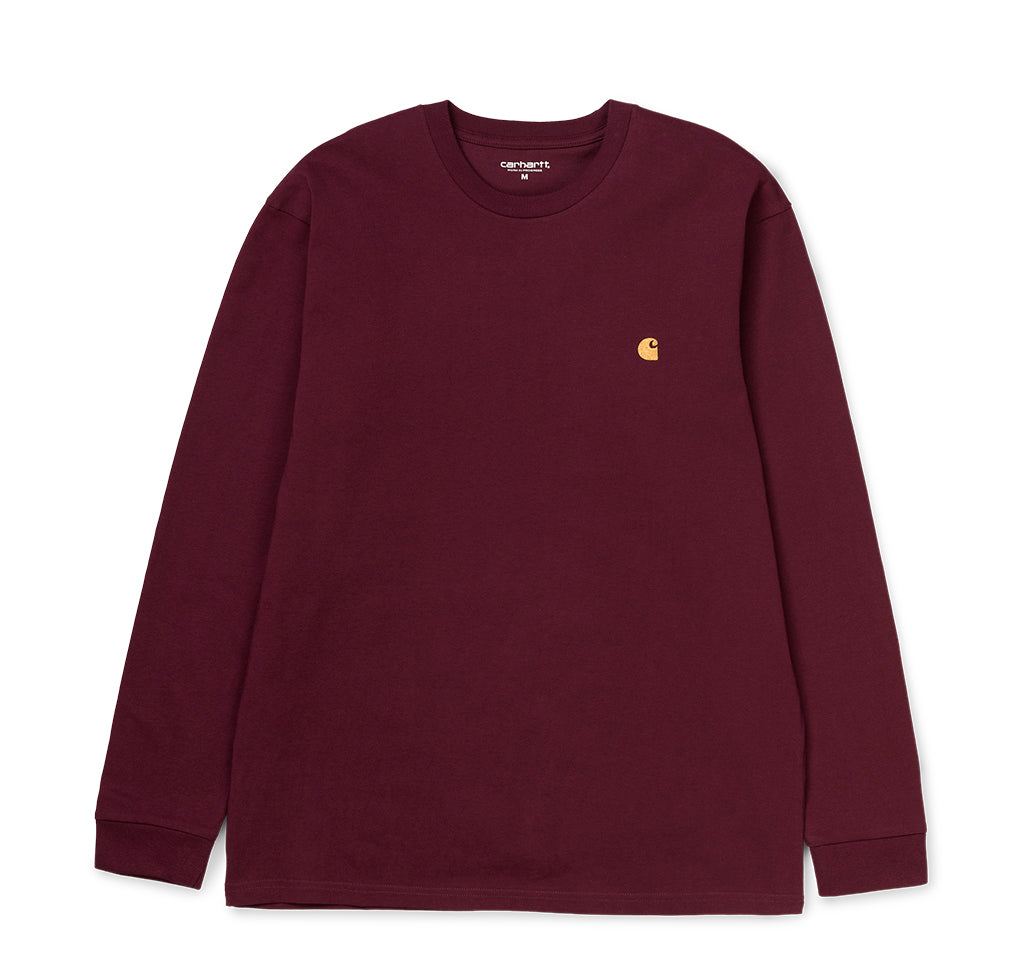 Carhartt WIP L/S Chase T-Shirt: Shiraz / Gold - The Union Project
