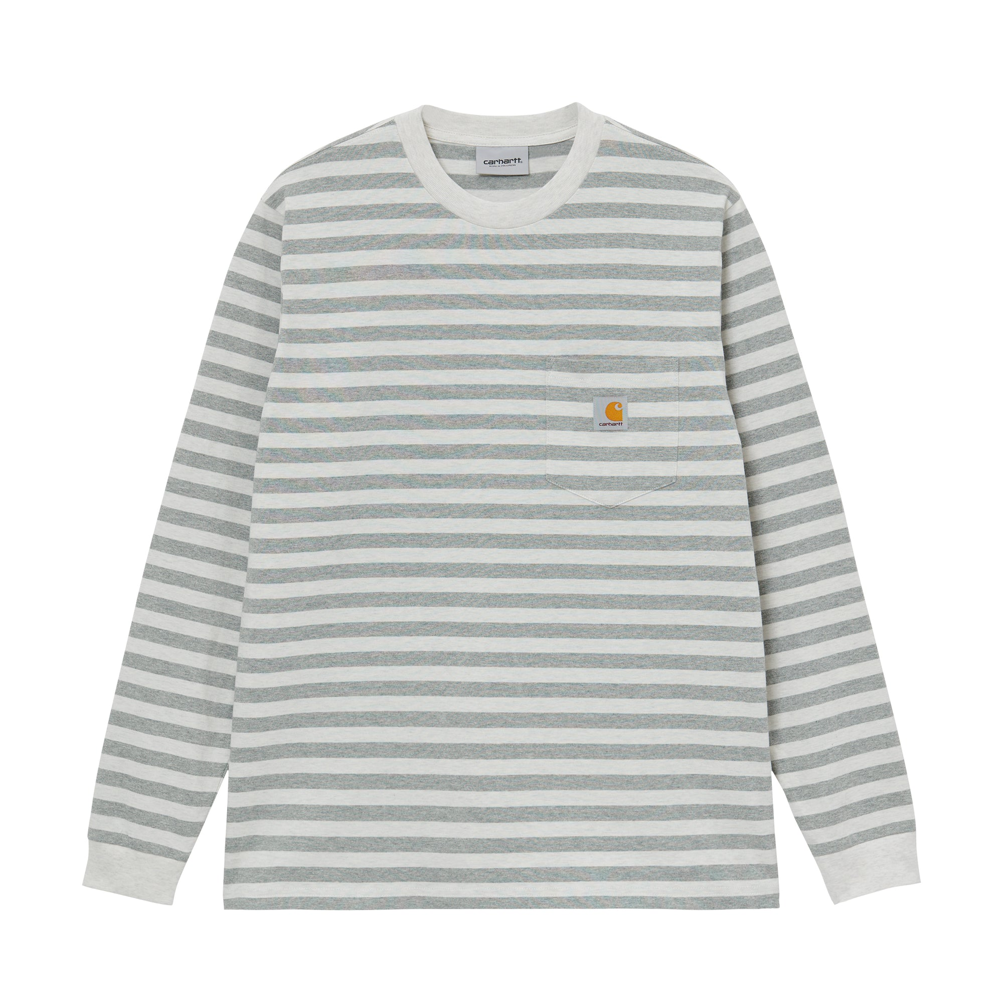 Carhartt WIP L/S Scotty Pocket T-Shirt: White Heather/Grey Heather - The Union Project