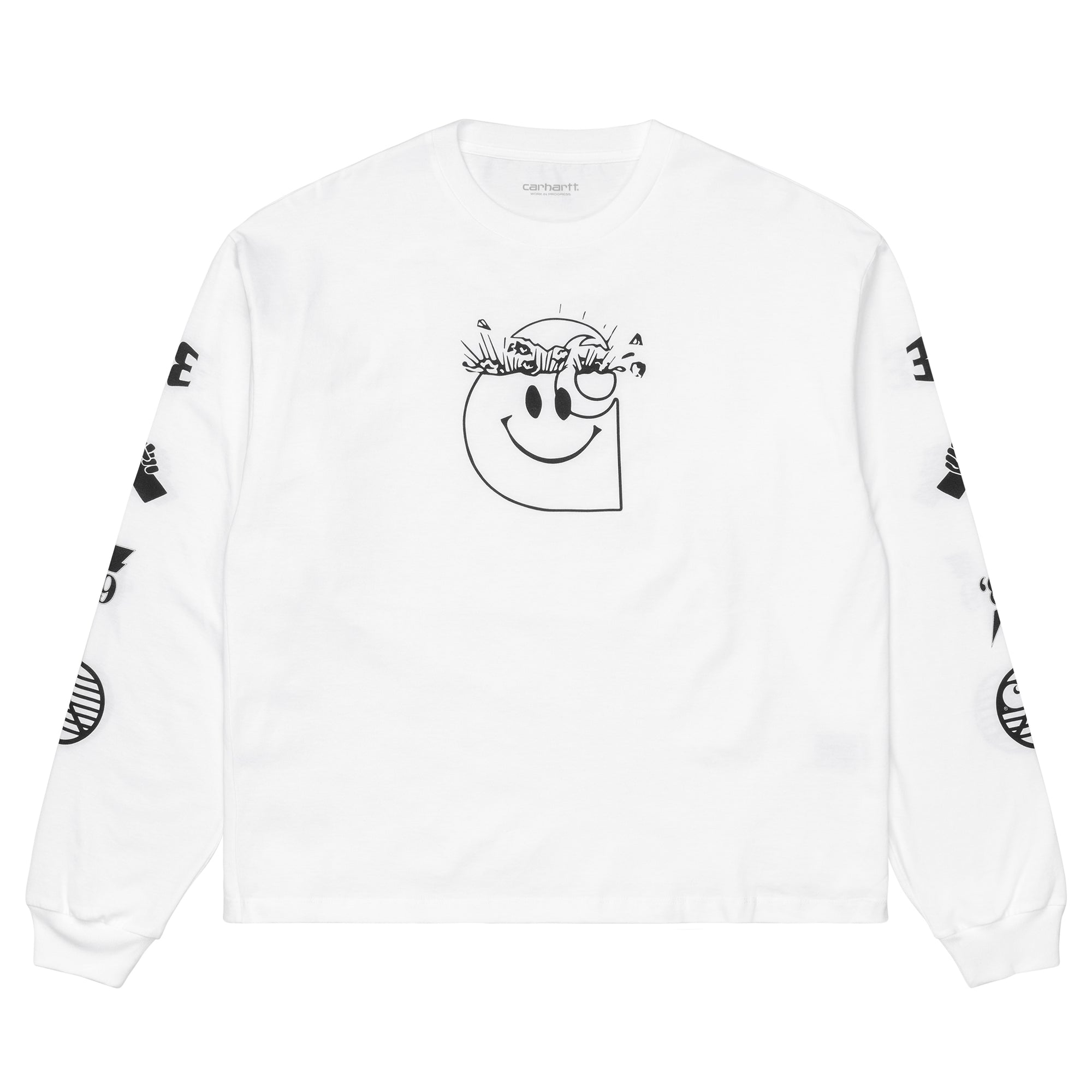 Carhartt WIP Womens L/S Tab T-Shirt: White / Black - The Union Project