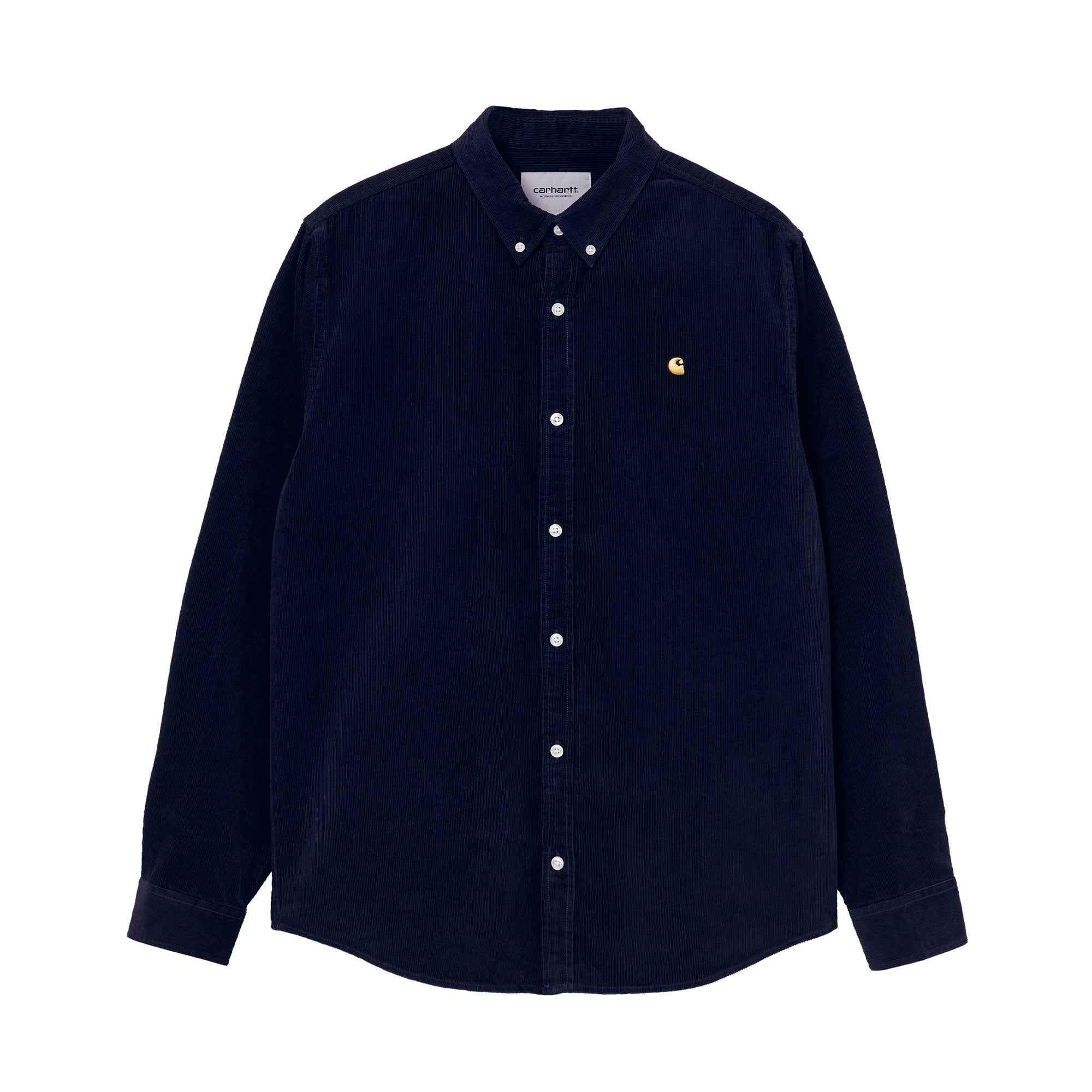 Carhartt WIP Madison Fine Cord Shirt: Dark Navy / Limoncello - The Union Project