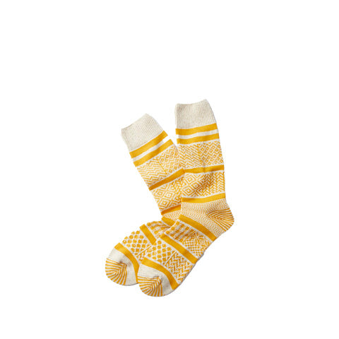 Rototo Multi Jacquard Socks: Ivory/Yellow - The Union Project