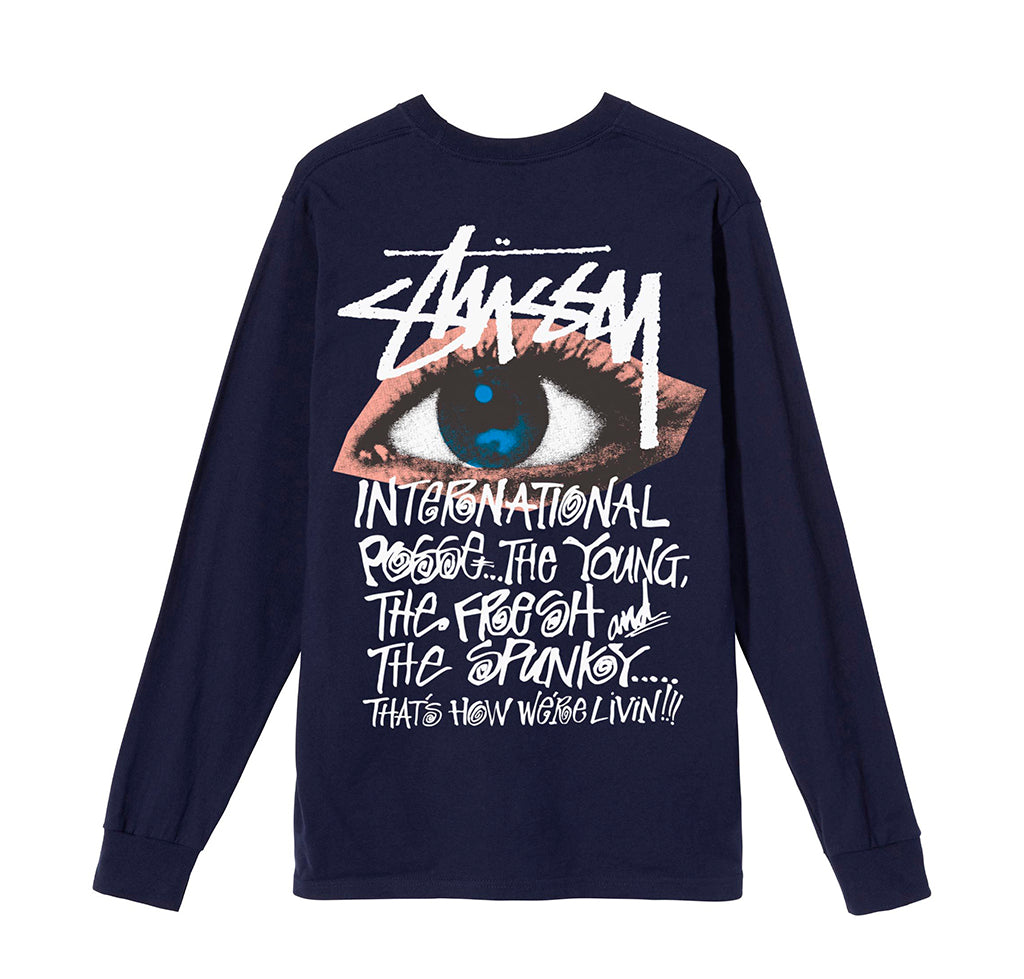 Stussy Ocular LS Tee: Navy - The Union Project