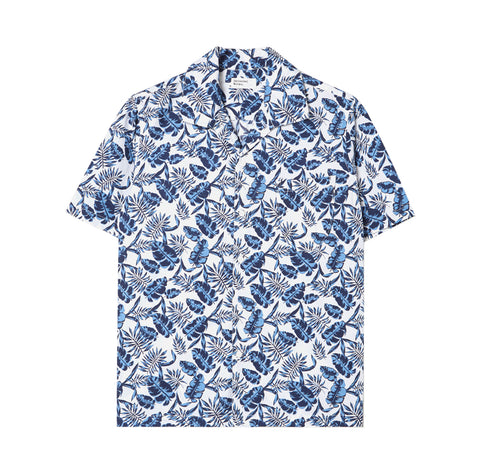 Universal Works Open Collar Shirt: Blue Japanese Flower