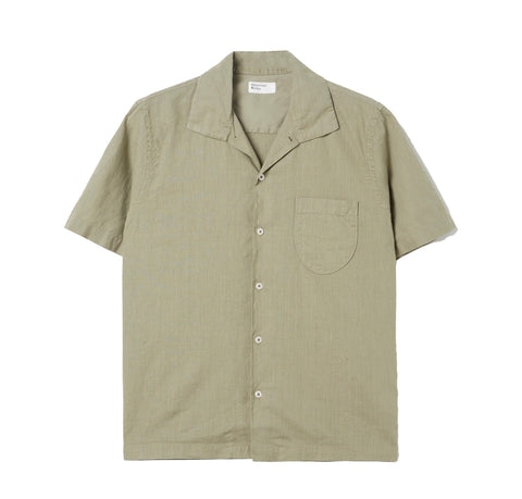 Universal Works Open Collar Linen Shirt: Laurel