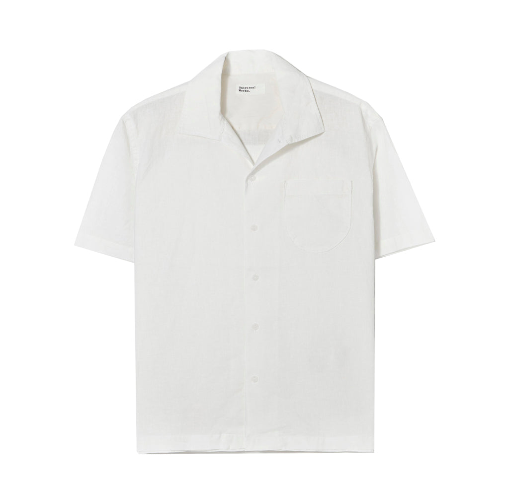 Shirts Universal Works Open Collar Linen Shirt: Ecru - The Union Project, Cheltenham, free delivery