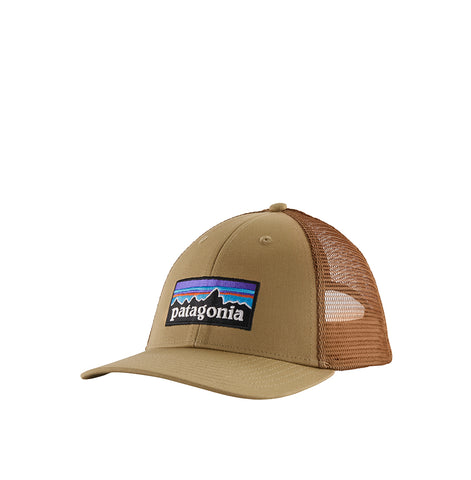 Patagoina P-6 Logo Trucker Hat: Classic Tan