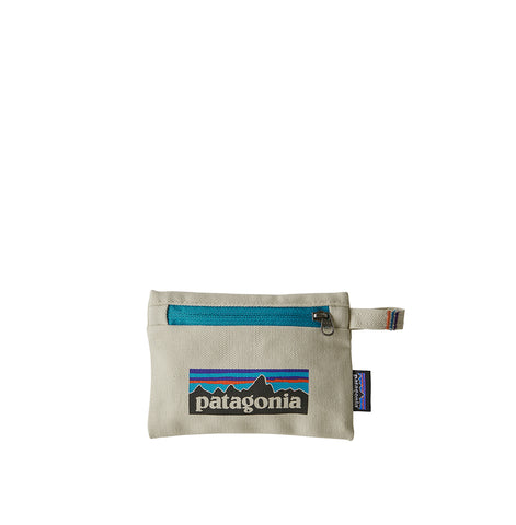 Patagonia Small Zippered Pouch P-6 Logo: Bleached Stone
