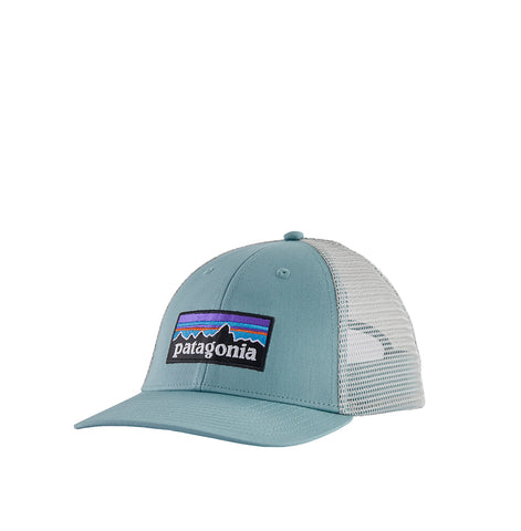 Patagoina P-6 Logo Trucker Hat: Big Sky Blue