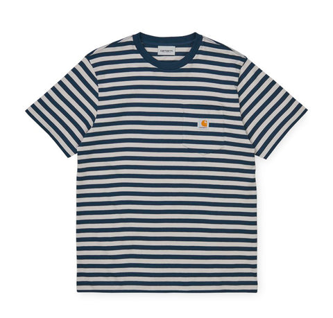 T-Shirts Carhartt WIP Parker Stripe Pocket T-Shirt: Admiral / Cinder - The Union Project, Cheltenham, free delivery