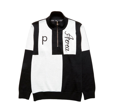 Parra Quarter Zip Knitted Pullover: Black
