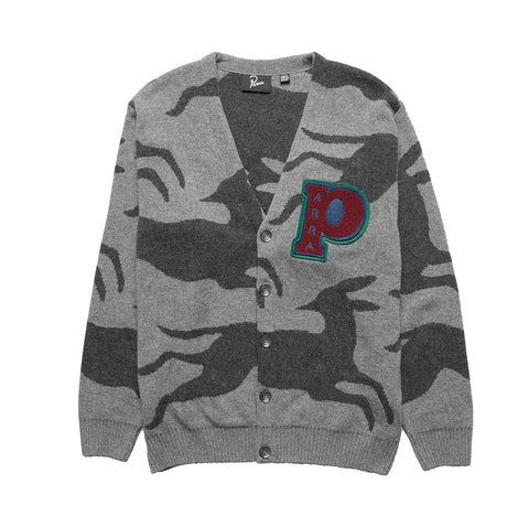 Parra Jumping Foxes Knitted Cardigan: Grey