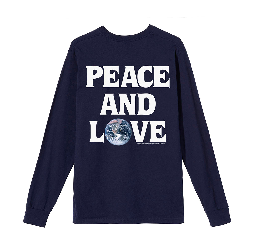 LS T-Shirts Stussy Peace & Love L/S Tee: Navy - The Union Project, Cheltenham, free delivery