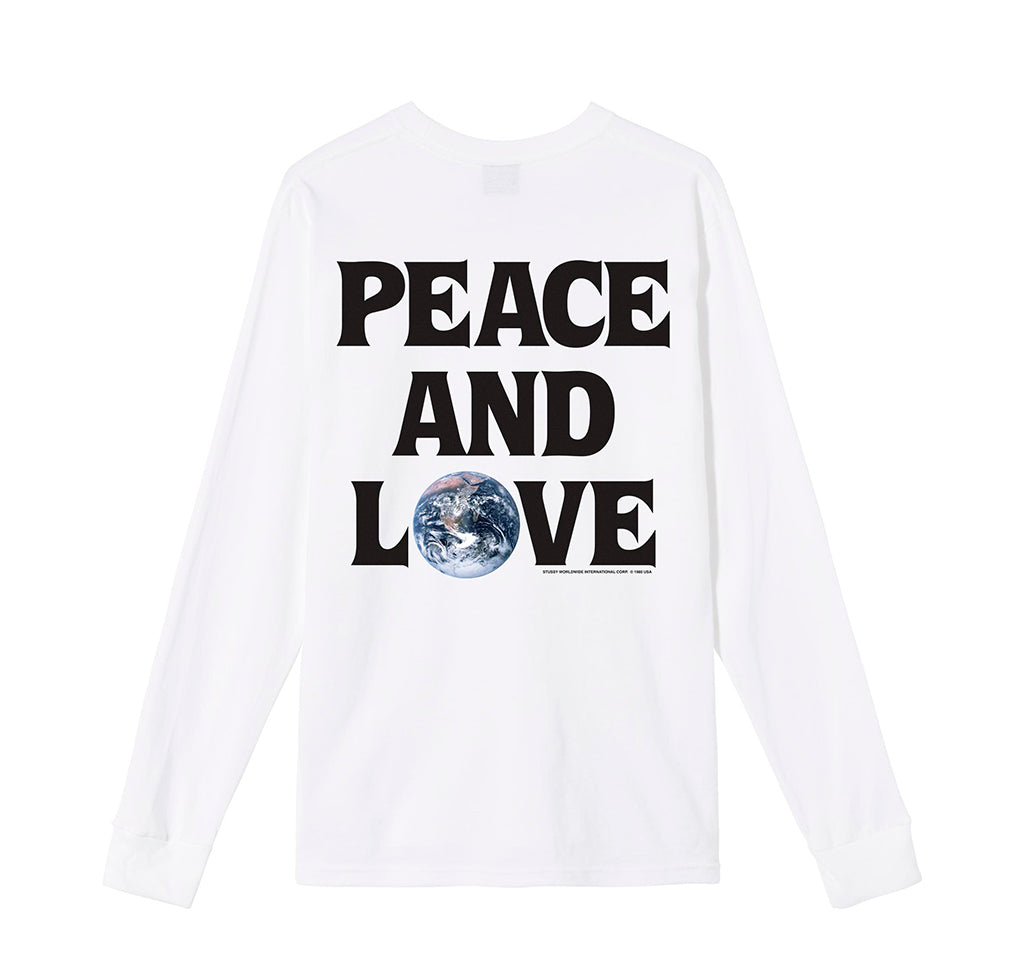 LS T-Shirts Stussy Peace & Love L/S Tee: White - The Union Project, Cheltenham, free delivery