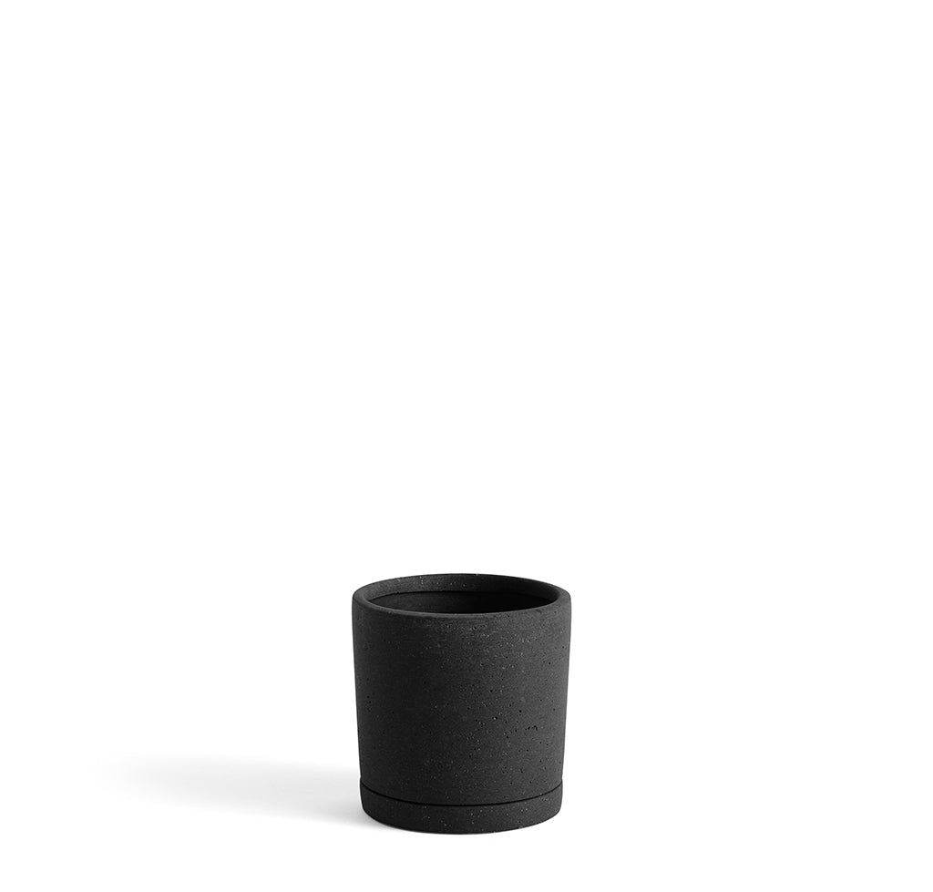 HAY Plant Pot w/ Saucer M: Black - The Union Project