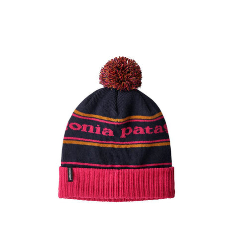 Patagonia Powder Town Beanie: Park Stripe: Craft Pink w/Navy Blue