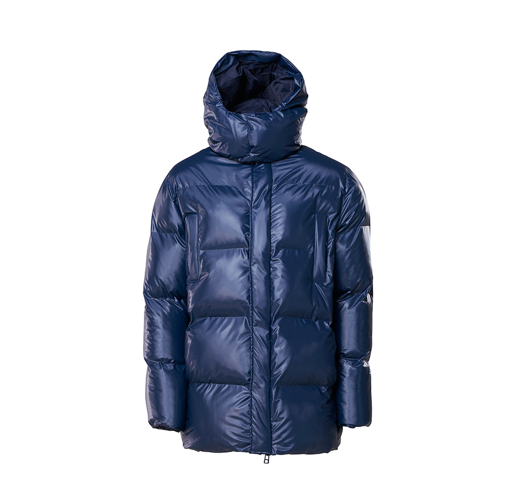Rains Puffer Hooded Coat: Shiny Blue - The Union Project